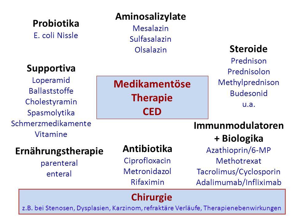 Medikamentöse Therapie CED Aminosalizylate Mesalazin Sulfasalazin Olsalazin Steroide Prednison Prednisolon Methylprednison Budesonid u.a.