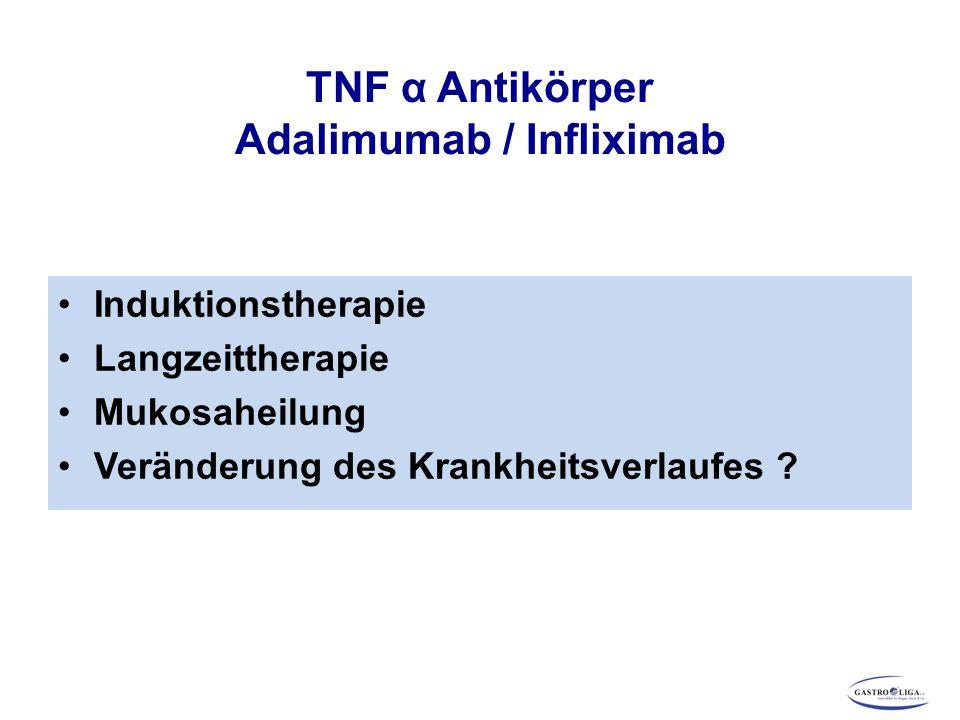 TNF α Antikörper Adalimumab / Infliximab Induktionstherapie Langzeittherapie Mukosaheilung Veränderung des Krankheitsverlaufes ?