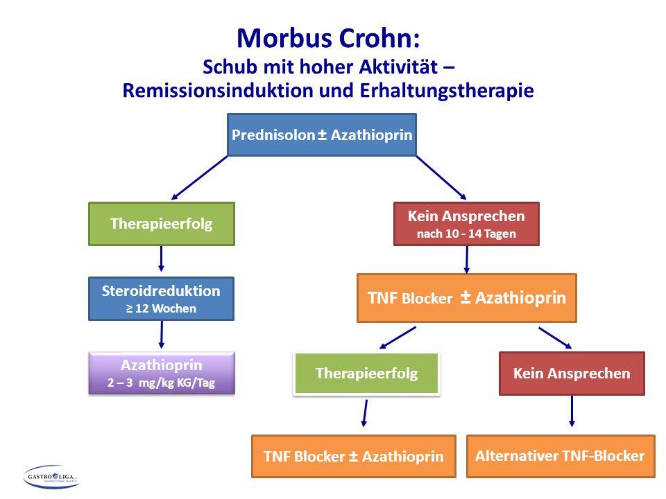 Morbus Crohn: Schub mit hoher Aktivität – Remissionsinduktion und Erhaltungstherapie *Bei häufigen Schüben: ≥ 4 Jahre TNF Blocker ± Azathioprin Steroidreduktion ≥ 12 Wochen TNF Blocker ± Azathioprin Azathioprin 2 – 3 mg/kg KG/Tag Azathioprin 2 – 3 mg/kg KG/Tag Prednisolon ± Azathioprin Therapieerfolg Kein Ansprechen nach 10 - 14 Tagen Alternativer TNF-Blocker Kein Ansprechen Therapieerfolg