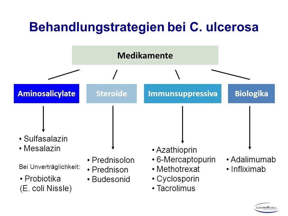 Behandlungstrategien bei C. ulcerosa Medikamente AminosalicylateImmunsuppressivaSteroide Sulfasalazin Mesalazin Bei Unverträglichkeit: Prednisolon Pre
