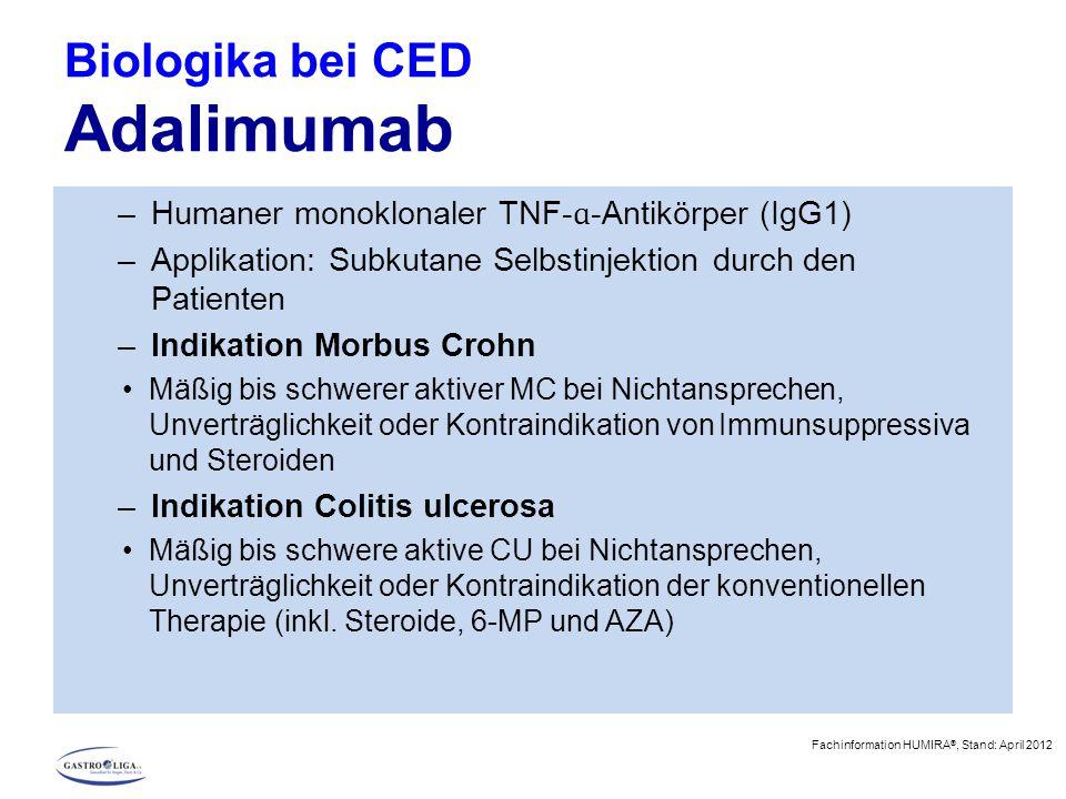 Biologika bei CED Adalimumab –Humaner monoklonaler TNF- ɑ -Antikörper (IgG1) –Applikation: Subkutane Selbstinjektion durch den Patienten –Indikation M