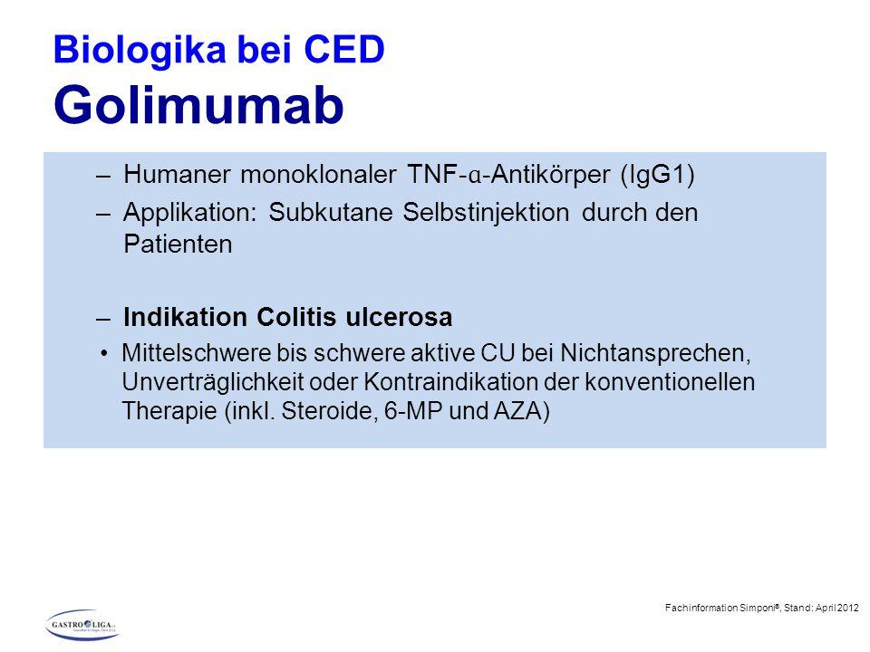 Biologika bei CED Golimumab –Humaner monoklonaler TNF- ɑ -Antikörper (IgG1) –Applikation: Subkutane Selbstinjektion durch den Patienten –Indikation Co