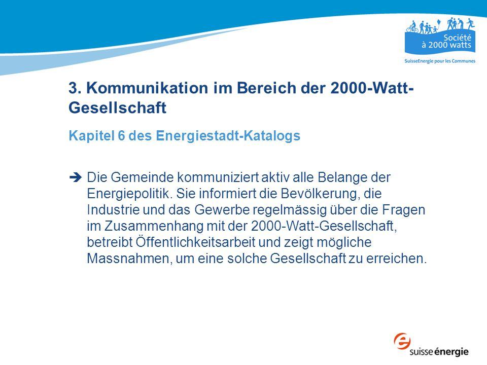 3. Kommunikation im Bereich der 2000-Watt- Gesellschaft Kapitel 6 des Energiestadt-Katalogs  Die Gemeinde kommuniziert aktiv alle Belange der Energie
