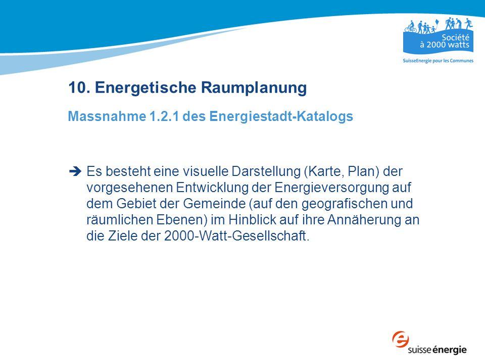 10. Energetische Raumplanung Massnahme 1.2.1 des Energiestadt-Katalogs  Es besteht eine visuelle Darstellung (Karte, Plan) der vorgesehenen Entwicklu