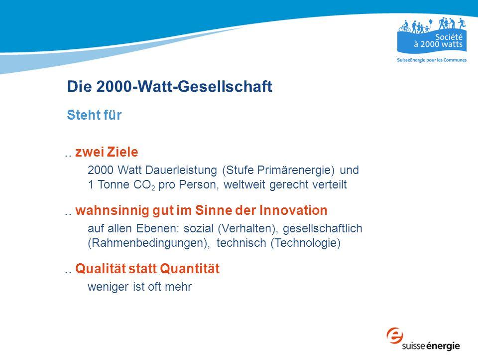 Die 2000-Watt-Gesellschaft Steht für.. zwei Ziele 2000 Watt Dauerleistung (Stufe Primärenergie) und 1 Tonne CO 2 pro Person, weltweit gerecht verteilt