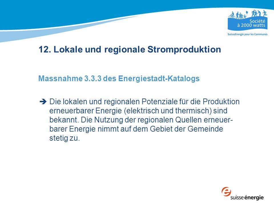 12. Lokale und regionale Stromproduktion Massnahme 3.3.3 des Energiestadt-Katalogs  Die lokalen und regionalen Potenziale für die Produktion erneuerb