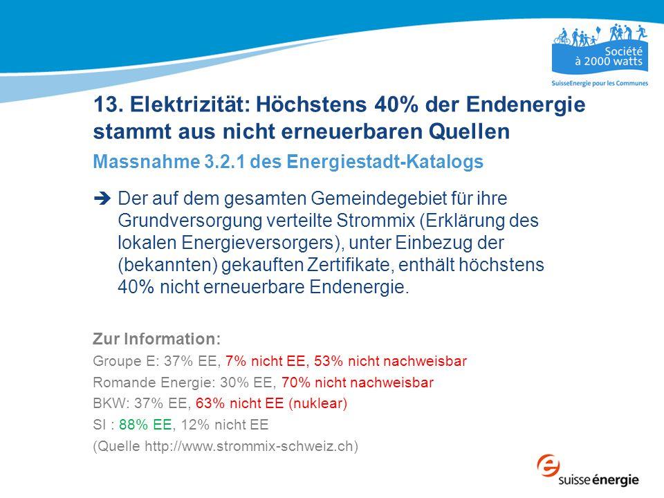 13. Elektrizität: Höchstens 40% der Endenergie stammt aus nicht erneuerbaren Quellen Massnahme 3.2.1 des Energiestadt-Katalogs  Der auf dem gesamten