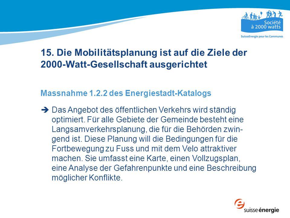 15. Die Mobilitätsplanung ist auf die Ziele der 2000-Watt-Gesellschaft ausgerichtet Massnahme 1.2.2 des Energiestadt-Katalogs  Das Angebot des öffent
