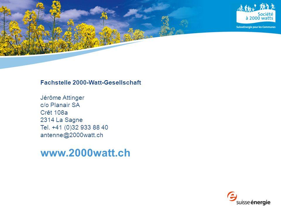 Fachstelle 2000-Watt-Gesellschaft Jérôme Attinger c/o Planair SA Crêt 108a 2314 La Sagne Tel. +41 (0)32 933 88 40 antenne@2000watt.ch www.2000watt.ch