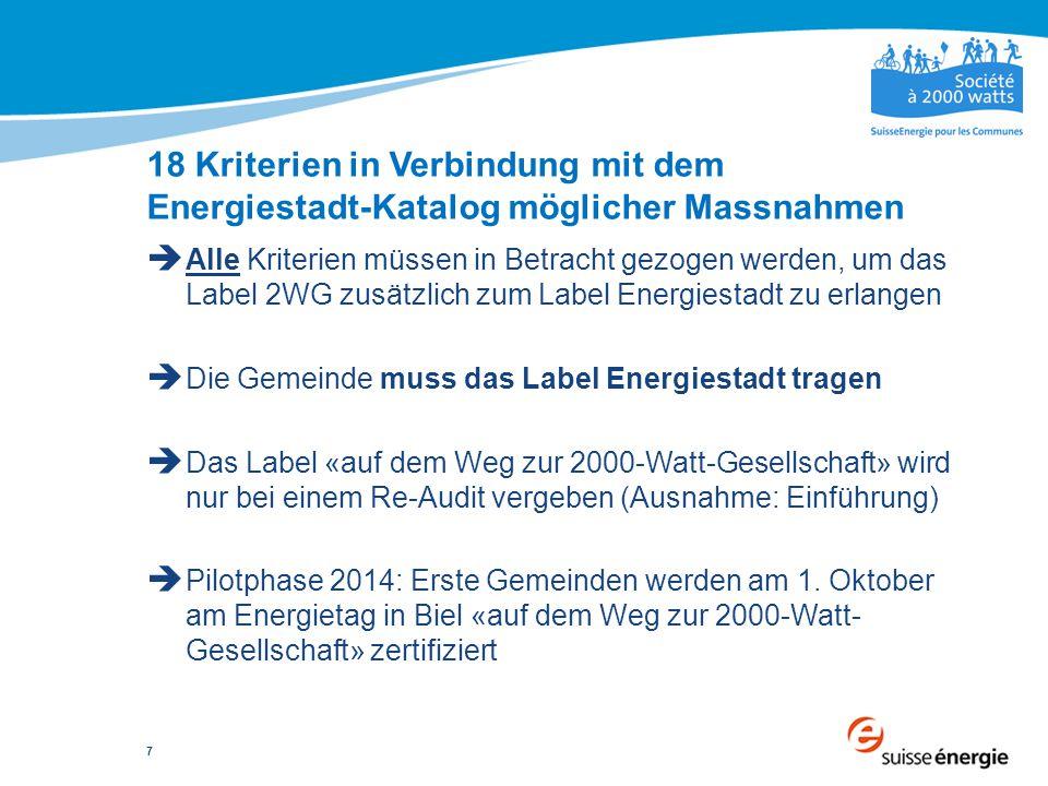 7  Alle Kriterien müssen in Betracht gezogen werden, um das Label 2WG zusätzlich zum Label Energiestadt zu erlangen  Die Gemeinde muss das Label Ene