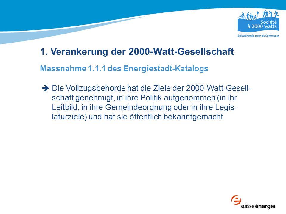 1. Verankerung der 2000-Watt-Gesellschaft Massnahme 1.1.1 des Energiestadt-Katalogs  Die Vollzugsbehörde hat die Ziele der 2000-Watt-Gesell- schaft g