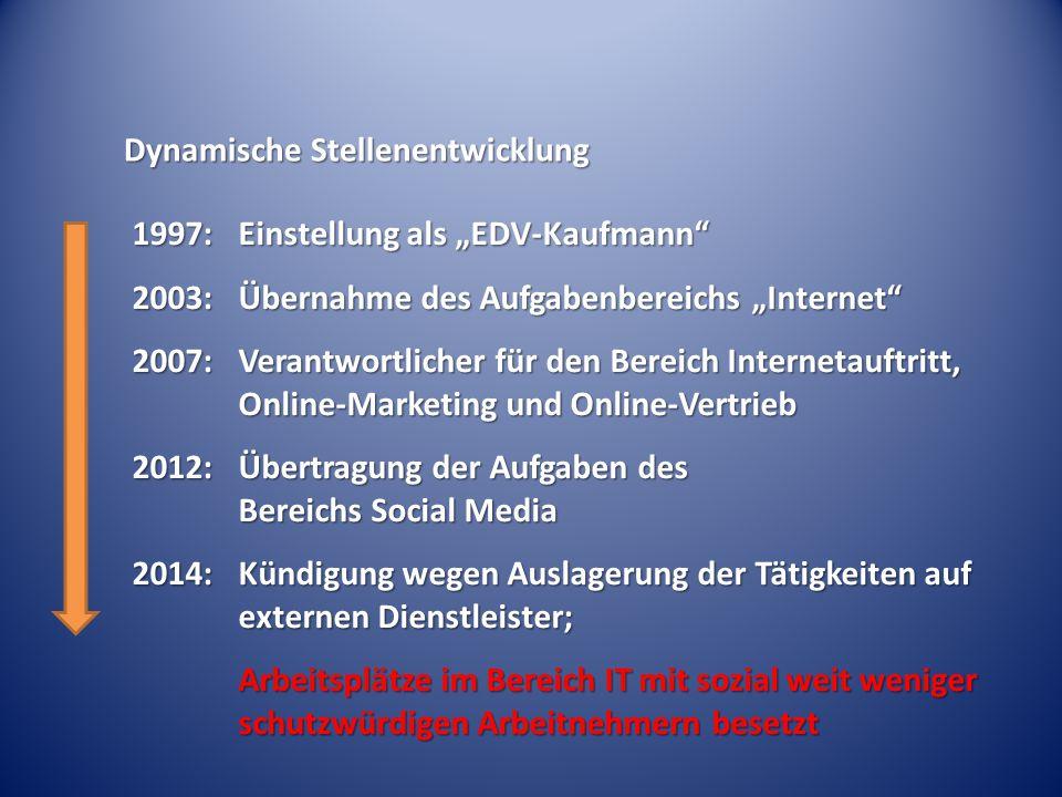 """Dynamische Stellenentwicklung 1997:Einstellung als """"EDV-Kaufmann"""" 2003:Übernahme des Aufgabenbereichs """"Internet"""" 2007:Verantwortlicher für den Bereich"""