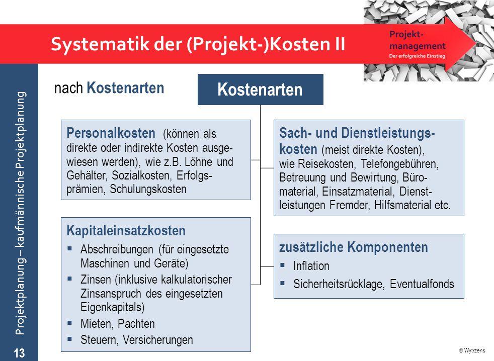 © Wytrzens Projektplanung – kaufmännische Projektplanung Systematik der (Projekt-)Kosten II 13 Kostenarten Personalkosten (können als direkte oder ind