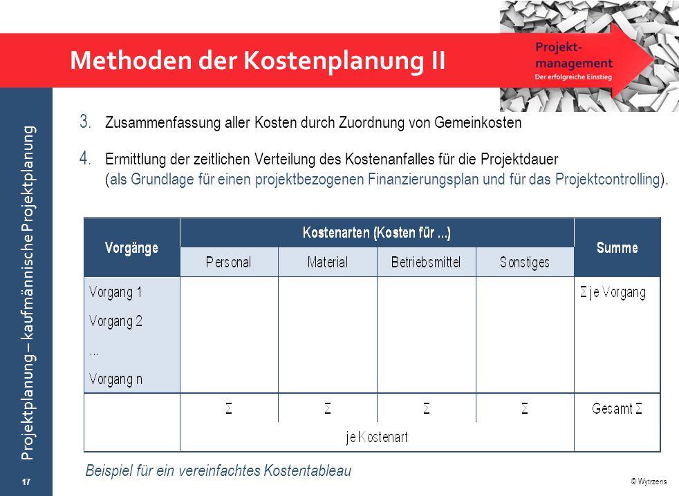 © Wytrzens Projektplanung – kaufmännische Projektplanung Methoden der Kostenplanung II 3. Zusammenfassung aller Kosten durch Zuordnung von Gemeinkoste