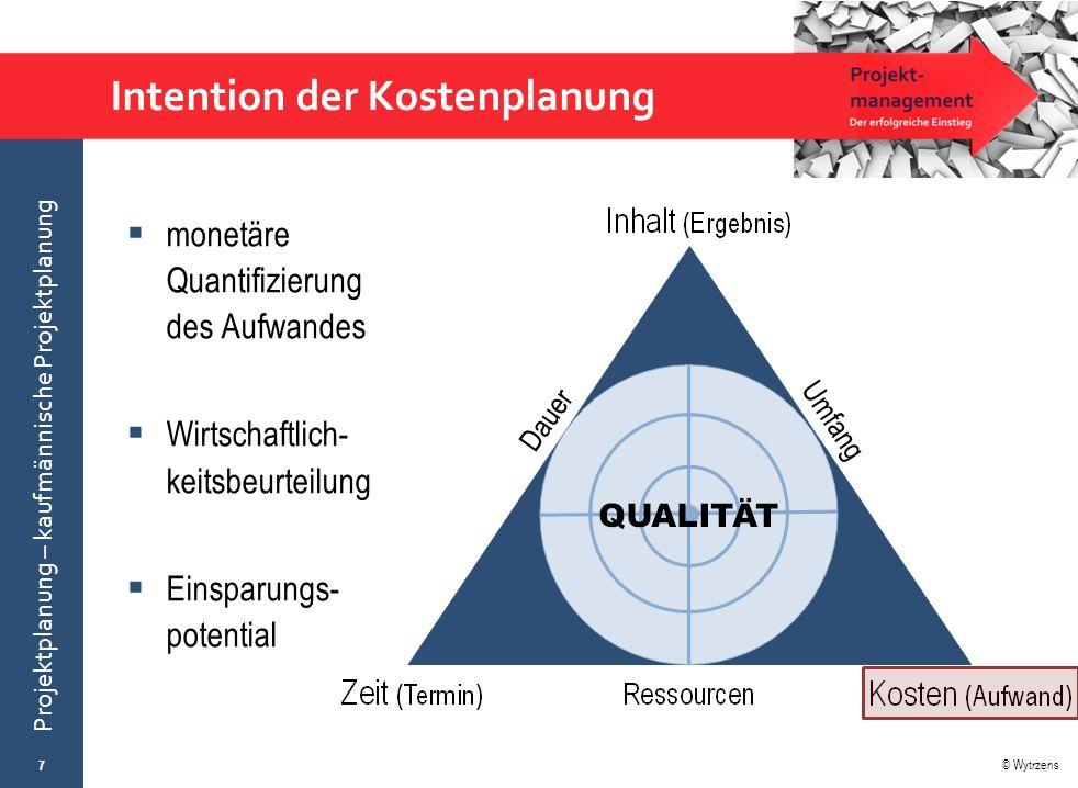 © Wytrzens Projektplanung – kaufmännische Projektplanung Intention der Kostenplanung  monetäre Quantifizierung des Aufwandes  Wirtschaftlich- keitsb