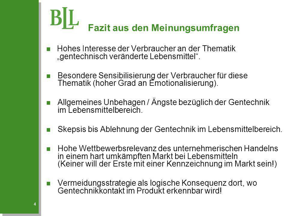 """4 n Hohes Interesse der Verbraucher an der Thematik """"gentechnisch veränderte Lebensmittel"""". n Besondere Sensibilisierung der Verbraucher für diese The"""