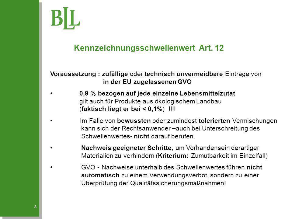 8 Kennzeichnungsschwellenwert Art. 12 Voraussetzung : zufällige oder technisch unvermeidbare Einträge von in der EU zugelassenen GVO 0,9 % bezogen auf