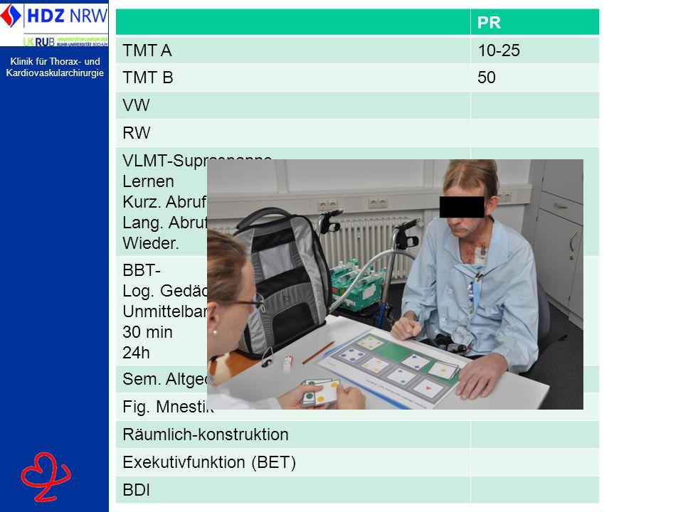 Klinik für Thorax- und Kardiovaskularchirurgie PR TMT A10-25 TMT B50 VW RW VLMT-Supraspanne Lernen Kurz. Abruf Lang. Abruf Wieder. BBT- Log. Gedächtni