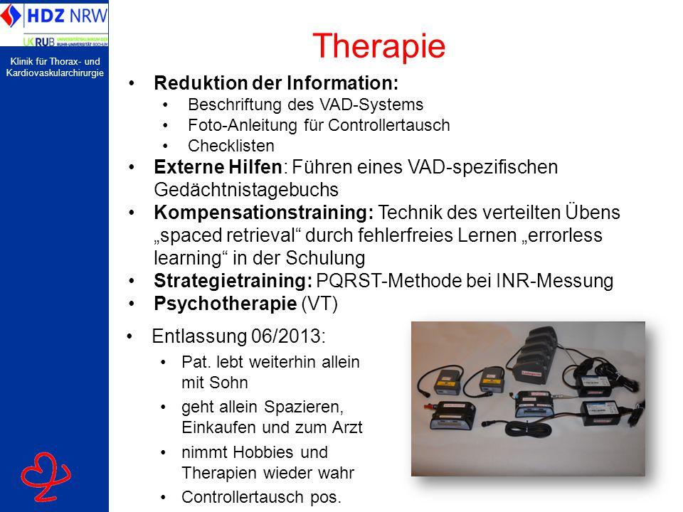 Klinik für Thorax- und Kardiovaskularchirurgie Therapie Entlassung 06/2013: Pat.