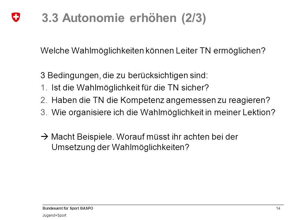 14 Bundesamt für Sport BASPO Jugend+Sport 3.3 Autonomie erhöhen (2/3) Welche Wahlmöglichkeiten können Leiter TN ermöglichen.
