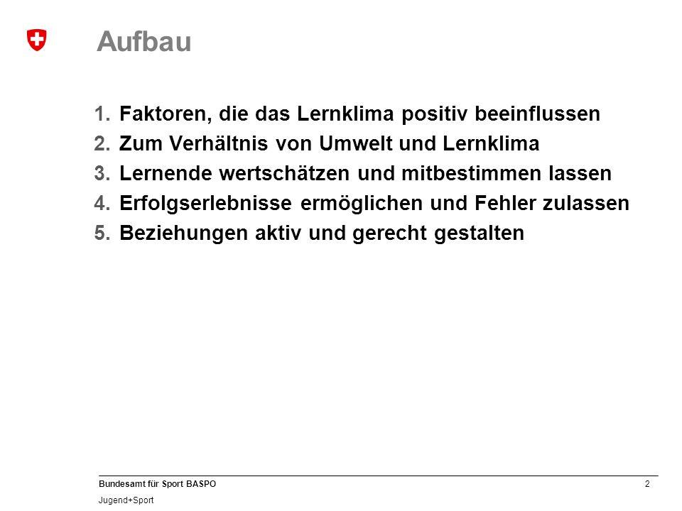 2 Bundesamt für Sport BASPO Jugend+Sport Aufbau 1.Faktoren, die das Lernklima positiv beeinflussen 2.Zum Verhältnis von Umwelt und Lernklima 3.Lernend
