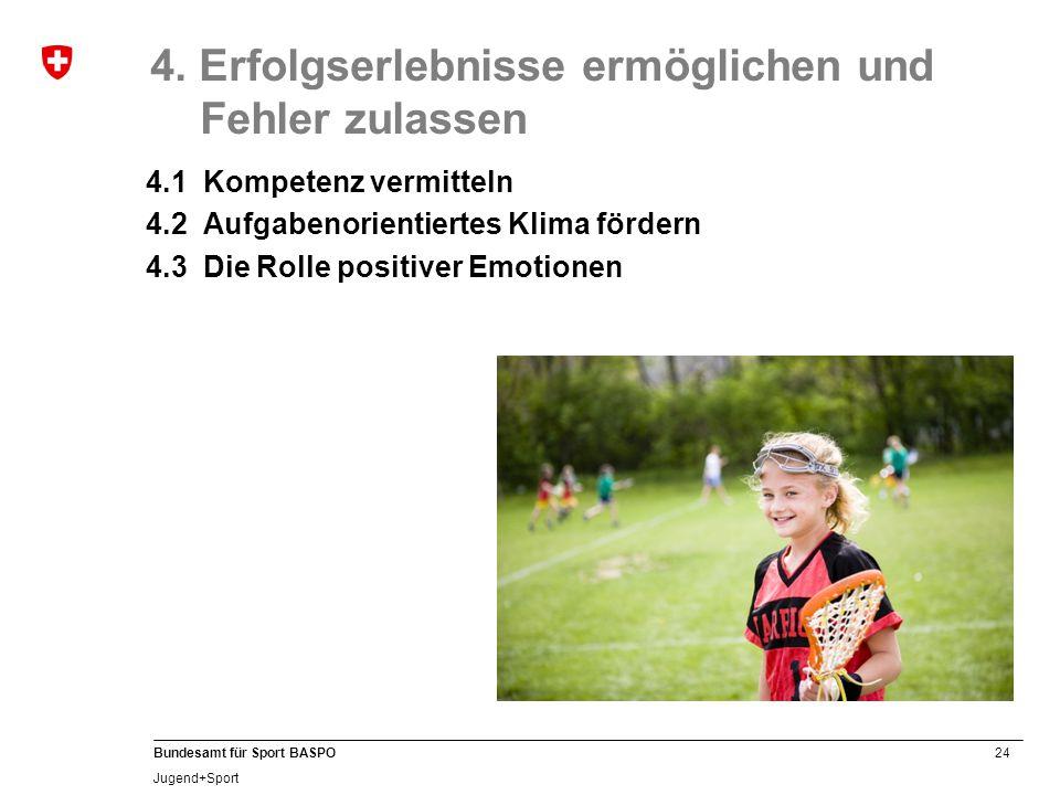24 Bundesamt für Sport BASPO Jugend+Sport 4. Erfolgserlebnisse ermöglichen und Fehler zulassen 4.1 Kompetenz vermitteln 4.2 Aufgabenorientiertes Klima
