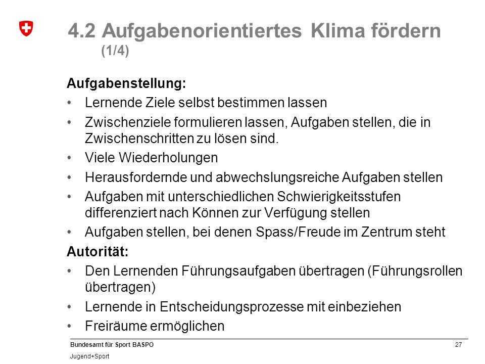 27 Bundesamt für Sport BASPO Jugend+Sport 4.2 Aufgabenorientiertes Klima fördern (1/4) Aufgabenstellung: Lernende Ziele selbst bestimmen lassen Zwisch
