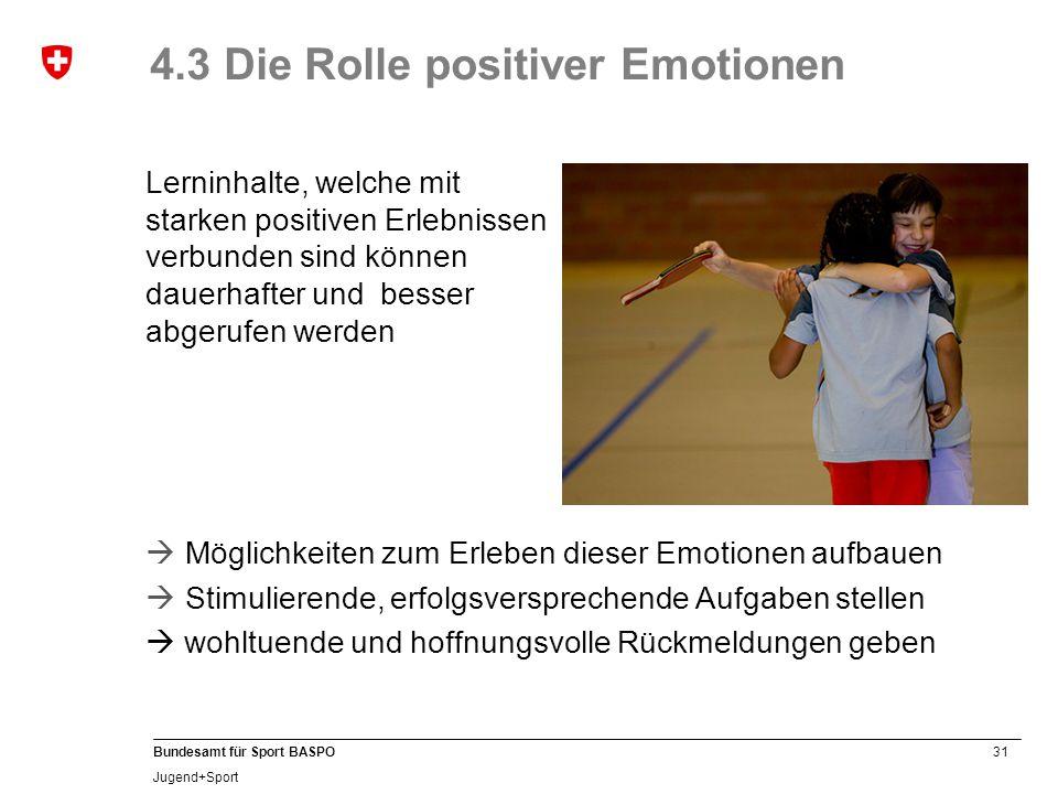 31 Bundesamt für Sport BASPO Jugend+Sport 4.3 Die Rolle positiver Emotionen Lerninhalte, welche mit starken positiven Erlebnissen verbunden sind können dauerhafter und besser abgerufen werden  Möglichkeiten zum Erleben dieser Emotionen aufbauen  Stimulierende, erfolgsversprechende Aufgaben stellen  wohltuende und hoffnungsvolle Rückmeldungen geben