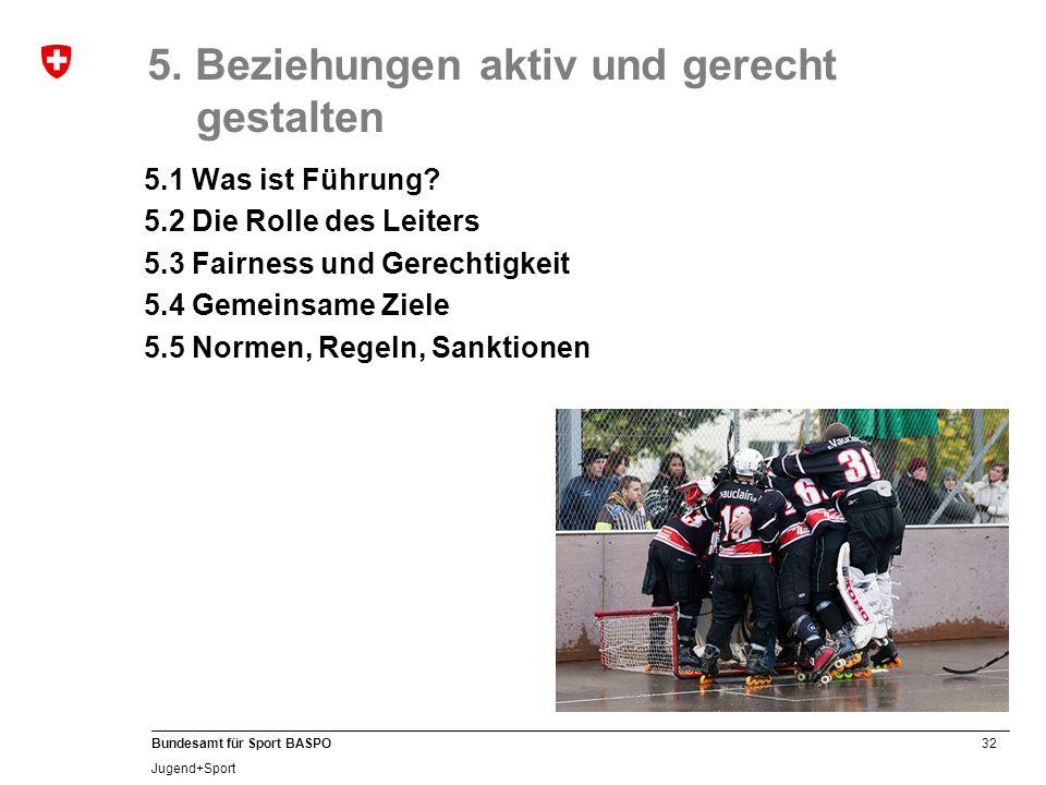 32 Bundesamt für Sport BASPO Jugend+Sport 5. Beziehungen aktiv und gerecht gestalten 5.1 Was ist Führung? 5.2 Die Rolle des Leiters 5.3 Fairness und G
