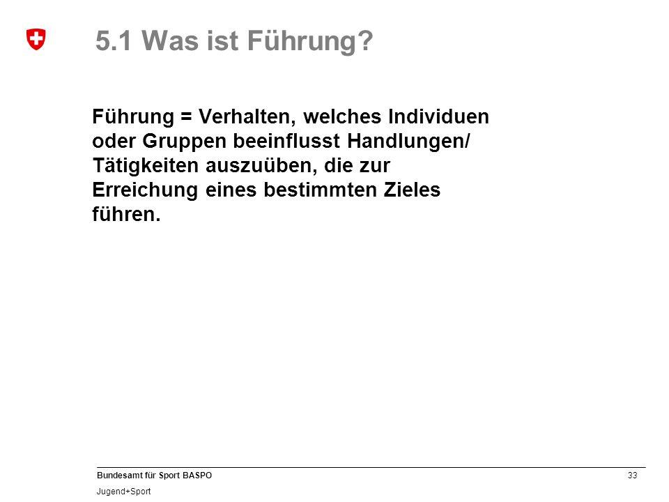 33 Bundesamt für Sport BASPO Jugend+Sport 5.1 Was ist Führung.