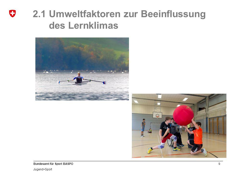 9 Bundesamt für Sport BASPO Jugend+Sport 2.1 Umweltfaktoren zur Beeinflussung des Lernklimas
