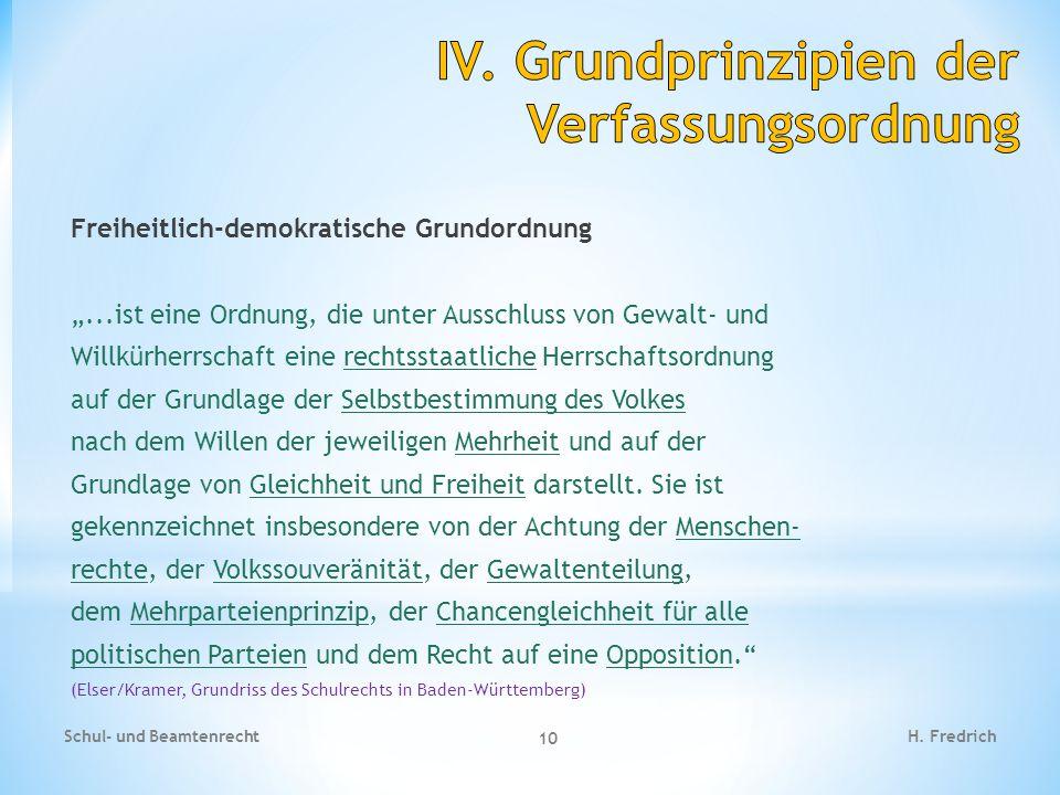 """Freiheitlich-demokratische Grundordnung """"...ist eine Ordnung, die unter Ausschluss von Gewalt- und Willkürherrschaft eine rechtsstaatliche Herrschafts"""