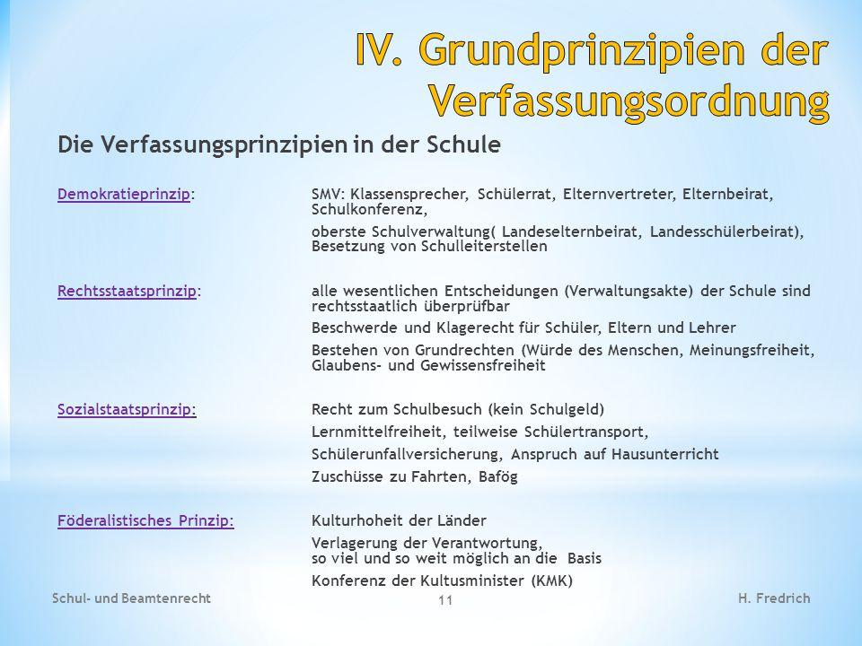 Die Verfassungsprinzipien in der Schule Demokratieprinzip:SMV: Klassensprecher, Schülerrat, Elternvertreter, Elternbeirat, Schulkonferenz, oberste Sch