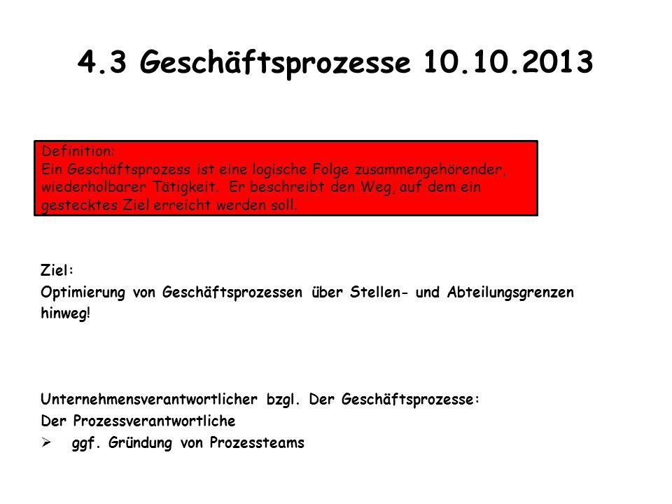 4.3 Geschäftsprozesse 10.10.2013 Ziel: Optimierung von Geschäftsprozessen über Stellen- und Abteilungsgrenzen hinweg! Unternehmensverantwortlicher bzg