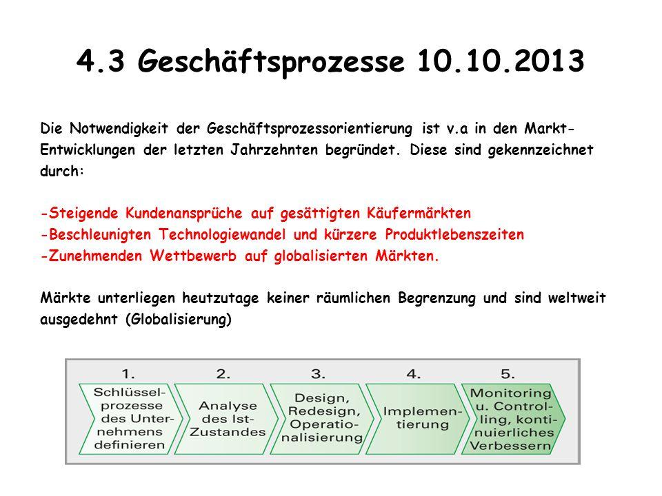 4.3 Geschäftsprozesse 10.10.2013 Die Notwendigkeit der Geschäftsprozessorientierung ist v.a in den Markt- Entwicklungen der letzten Jahrzehnten begrün