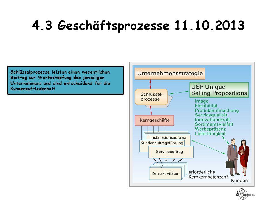 4.3 Geschäftsprozesse 11.10.2013 Schlüsselprozesse leisten einen wesentlichen Beitrag zur Wertschöpfung des jeweiligen Unternehmens und sind entscheid