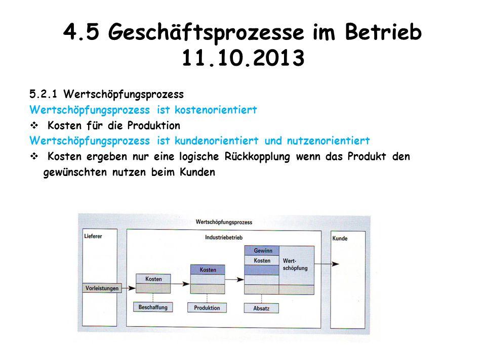 4.5 Geschäftsprozesse im Betrieb 11.10.2013 5.2.1 Wertschöpfungsprozess Wertschöpfungsprozess ist kostenorientiert  Kosten für die Produktion Wertsch