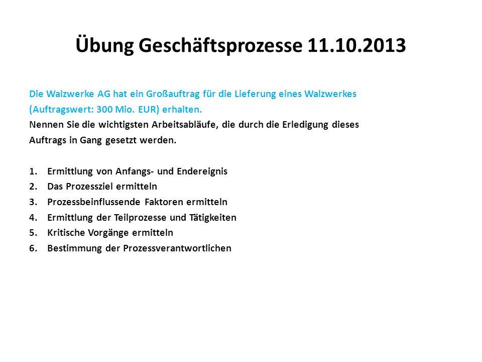Übung Geschäftsprozesse 11.10.2013 Die Walzwerke AG hat ein Großauftrag für die Lieferung eines Walzwerkes (Auftragswert: 300 Mio. EUR) erhalten. Nenn