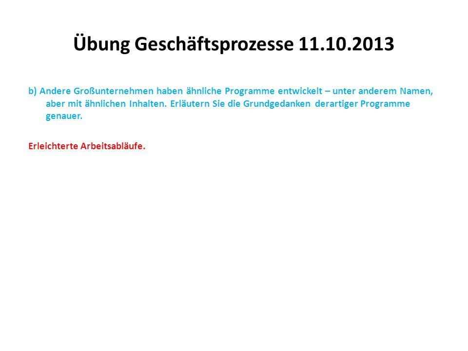 Übung Geschäftsprozesse 11.10.2013 b) Andere Großunternehmen haben ähnliche Programme entwickelt – unter anderem Namen, aber mit ähnlichen Inhalten. E