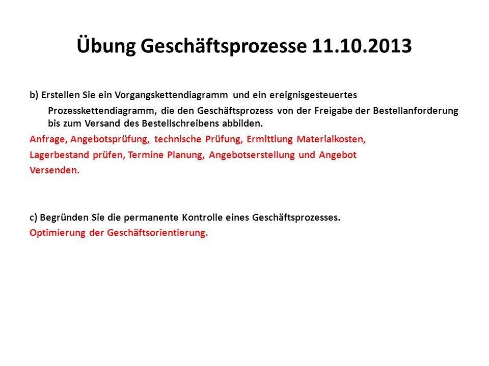 Übung Geschäftsprozesse 11.10.2013 b) Erstellen Sie ein Vorgangskettendiagramm und ein ereignisgesteuertes Prozesskettendiagramm, die den Geschäftspro