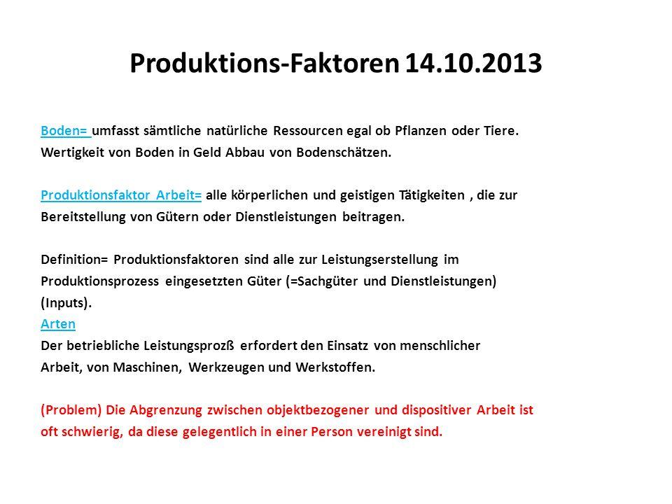 Produktions-Faktoren 14.10.2013 Boden= umfasst sämtliche natürliche Ressourcen egal ob Pflanzen oder Tiere. Wertigkeit von Boden in Geld Abbau von Bod