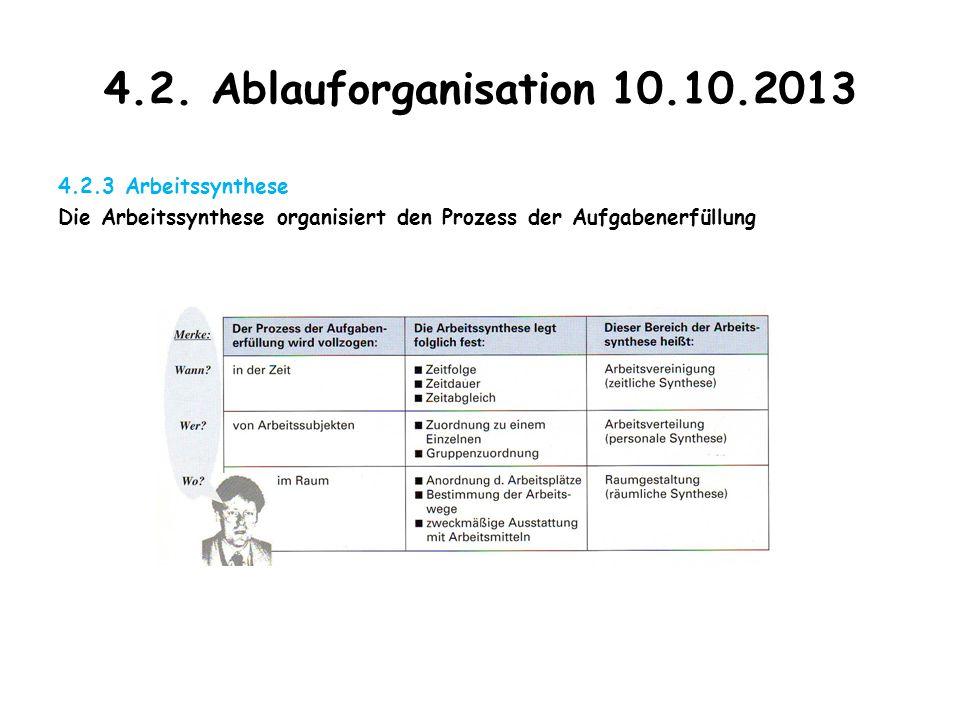 4.2. Ablauforganisation 10.10.2013 4.2.3 Arbeitssynthese Die Arbeitssynthese organisiert den Prozess der Aufgabenerfüllung