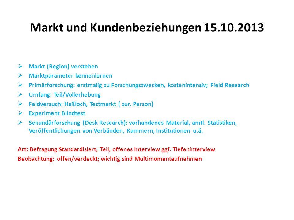 Markt und Kundenbeziehungen 15.10.2013  Markt (Region) verstehen  Marktparameter kennenlernen  Primärforschung: erstmalig zu Forschungszwecken, kos