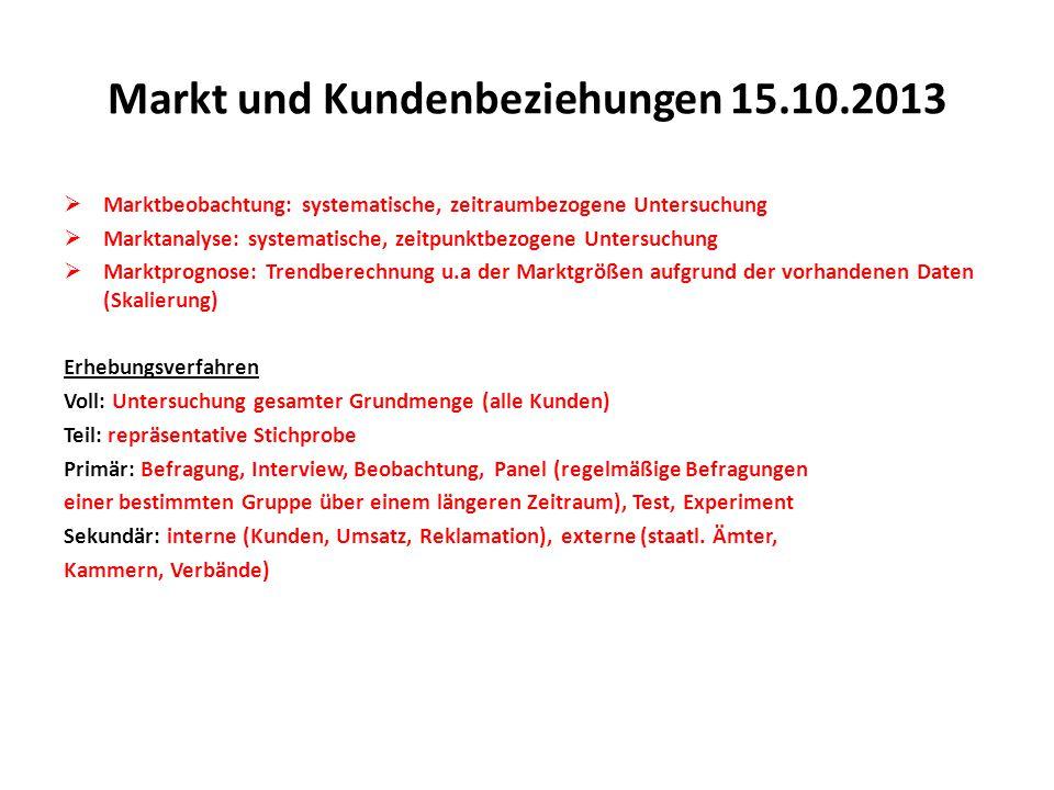Markt und Kundenbeziehungen 15.10.2013  Marktbeobachtung: systematische, zeitraumbezogene Untersuchung  Marktanalyse: systematische, zeitpunktbezoge