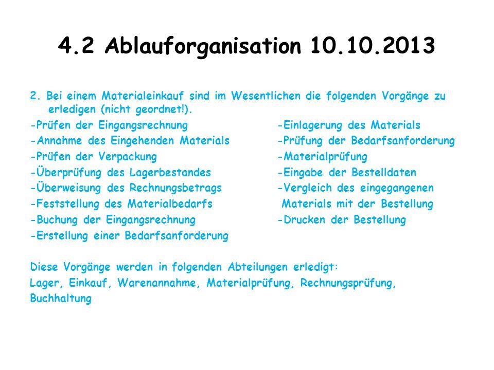 4.2 Ablauforganisation 10.10.2013 2. Bei einem Materialeinkauf sind im Wesentlichen die folgenden Vorgänge zu erledigen (nicht geordnet!). -Prüfen der