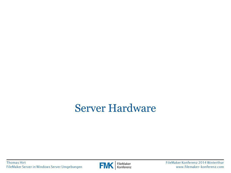Thomas Hirt FileMaker Server in Windows Server Umgebungen FileMaker Konferenz 2014 Winterthur www.filemaker-konferenz.com Zugriffsrechte von FileMaker Server Manage Containers Auslagerung von Containerdaten auf Netzwerkshares ist nativ nur von FileMaker Pro aus möglich.