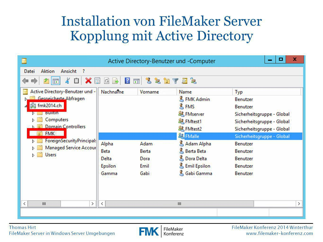 Thomas Hirt FileMaker Server in Windows Server Umgebungen FileMaker Konferenz 2014 Winterthur www.filemaker-konferenz.com Installation von FileMaker Server Kopplung mit Active Directory