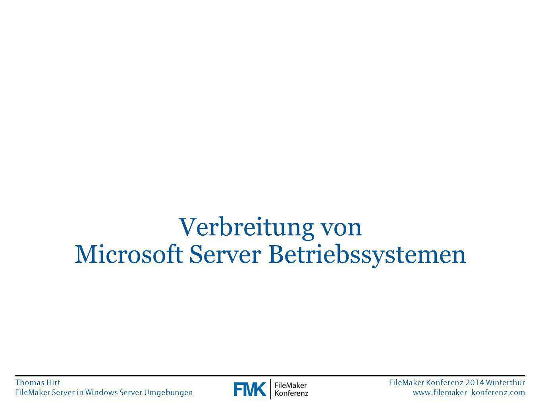Thomas Hirt FileMaker Server in Windows Server Umgebungen FileMaker Konferenz 2014 Winterthur www.filemaker-konferenz.com Authentifizierung via AD kombiniert mit eigenen Berechtigungen Es ist innerhalb von FileMaker leider unmöglich, abzufragen zu welcher AD Sicherheitsgruppe ein angemeldeter Benutzer gehört.