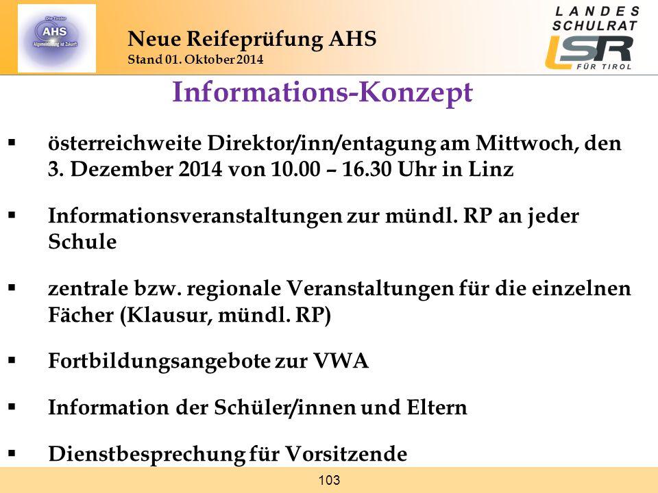 103 Neue Reifeprüfung AHS Stand 01. Oktober 2014 Informations-Konzept  österreichweite Direktor/inn/entagung am Mittwoch, den 3. Dezember 2014 von 10