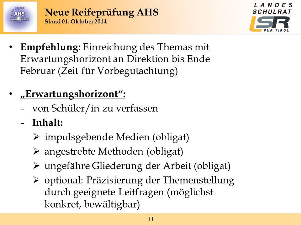 """11 Empfehlung: Einreichung des Themas mit Erwartungshorizont an Direktion bis Ende Februar (Zeit für Vorbegutachtung) """"Erwartungshorizont"""": -von Schül"""